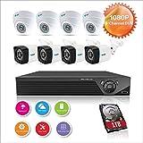 Anni CCTV Sistema de Seguridad 8CH 1080p HD TVI 5-en-1 DVR,4X 720p Exterior a Prueba de Intemperie cámaras de Bala,4X 720p cámara Domo Interior,visión Nocturna,detección de Movimiento,con 1 TB HDD