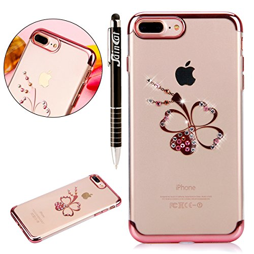 Custodia iPhone 7 Plus, iPhone 7 Plus Cover Silicone, SainCat Cover per iPhone 7 Plus Custodia Silicone Morbido, Custodia Bling Glitter Strass Diamante Silicone 3D Design Ultra Slim Silicone Case Ultr Trifoglio #2