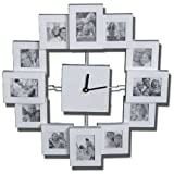 WEISS Fotorahmen - Wanduhr mit 12 kleinen Bilderrahmen Uhr MT