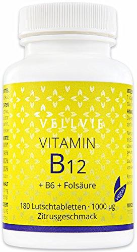Vitamin B12 Lutschtabletten Vegan ohne Magnesiumstearat, 1000 mcg aktives Methylcobalamin 180 Stk. mit Zitronen-Geschmack, Hochdosiert von VELLVIE