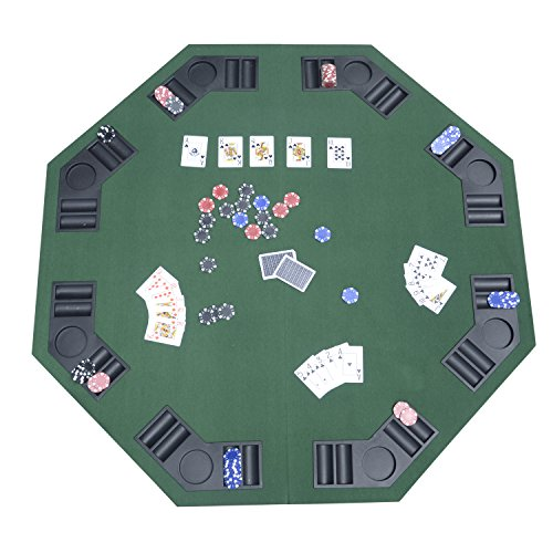 HOMCOM 1.2M/48 INCHES FOLDABLE POKER TABLE TOP 8 PLAYERS BLACKJACK TABLES CASINO CHIP TRAYS