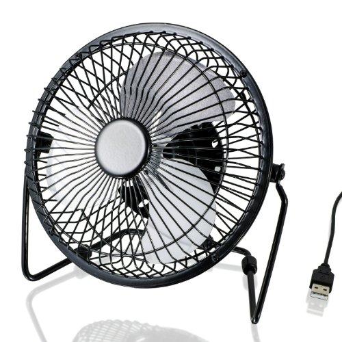 CSL - Ventilador USB | ventilador de mesa/ventilador | carcasa/aspas de metal | PC/portátil | en negro