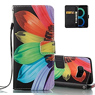 Galaxy S8 Fold Wallet Case Black, Aeeque® Ultra Thin Bookstyle Kickstand Feature with Hand Strap Premium PU Leather Phone Case Protection for Samsung Galaxy S8 2017 - Colorful Sunflowers
