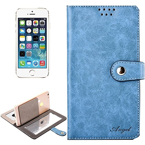 iPhone Case Cover Étui en cuir universel horizontal Flip avec miroir & Holder & Card Slots & Wallet & Photo Frame pour iPhone 5 & 5s & SE, Taille: 13 x 7 x 1.5 cm ( Color : Army green ) Blue
