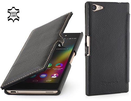 StilGut Book Type Case mit Clip, Hülle aus Leder für Wiko Highway Star, schwarz