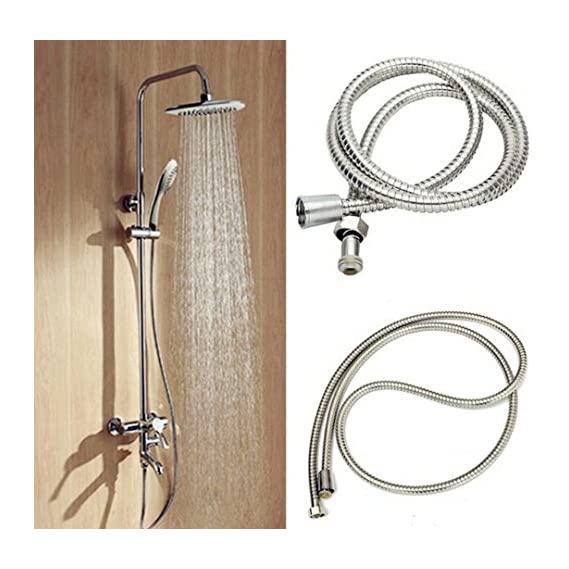 TOTAL HOME : 1.5M Flexible Shower Hose Stainless Steel Bathroom Heater Water Head Pipe Chrome