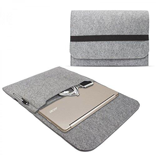 eFabrik Schutz Hülle für Acer Chromebook R13 Tasche 13,3 Zoll Ultrabook Notebook Case Soft Cover Schutzhülle Sleeve Filz hell grau