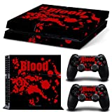 Skins4u Playstation 4 Skin Aufkleber Skin Folie Design Sticker Set inkl. 2 Stück PS4 Controller Skins Motiv Blood Crime Black