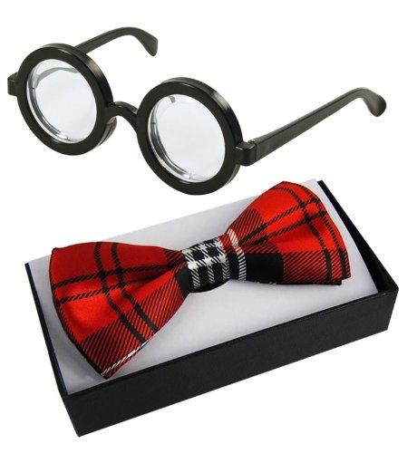 Nerd Glasses & Tartan Bow Tie Fancy Dress