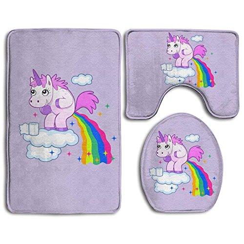 Meius 3PCS/Set Badezimmer Rutschfeste Pooping Rainbow Einhorn Stil Ständer Teppich + Deckel WC-Deckelbezug + Badteppich