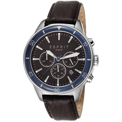 Esprit 45mm Cronógrafo Negro Cuero Pulsera para Hombre Fecha reloj es106901002
