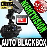 FullHD Auto-Black-Box -Hochgeschwindigkeitskamera Car-Camera-Recorder all INKL. G-Sensor, SOS Taste + Nachtsicht 12 LED's + Bewegungssensor + Farbbildschirm 1,5 TFT LCD Display + 8GB SD Karte /Unfalldatenschreiber/Überwachungskamera Video/Audio DVR