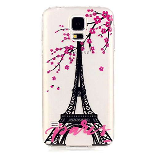 Samsung Galaxy S5 Mini Custodia,KSHOP TPU Custodia conchiglia Caso Case Cover in silicone morbido Flessibile TPU modelli colorati - Torre Eiffel