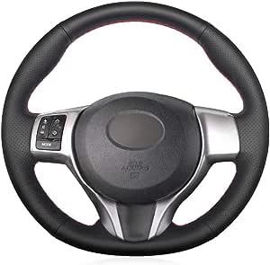 HCDSWSN Coprivolante per Auto in Pelle Sintetica Nera per Toyota Yaris 2012 2013 2014 2015 2016 2017 2018
