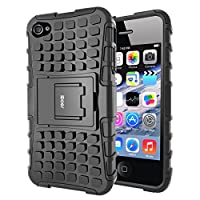 iDoer iPhone 4S Funda Carcasa Cases caso armor doble capa y de soporte de Silicona Protectora para Apple iPhone 4 4s (negro)