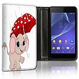 Hülle Galaxy J5 Modell 2015 Hülle Samsung J5 J500 Schutzhülle Handyhülle Flip Cover Case Samsung Galaxy J5 J500 Modell 2015 (OM123 Baby Elefant Pink Rosa Rot)