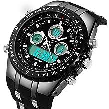 binzi Militar Hombre Reloj de pulsera Agua Densidad de deporte Relojes Digital Reloj de Lujo LED de luz Dual de pantalla negra con banda de silicona