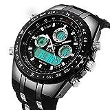 binzi orologi da uomo orologio militare orologio da polso orologi sport digitale impermeabile di lusso luce led doppio display con banda di silicone nero