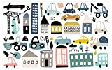 Wandtattoo Kinderzimmer Deko Pastell Set Fahrzeuge Stadt Autos Bagger Kran