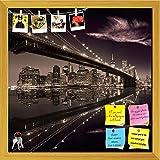 ArtzFolio Brooklyn Bridge In Manhattan Skyline, New York USA Printed Bulletin Board Notice Pin Board cum Golden Framed Painting 16 x 16inch