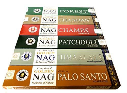 Golden Nag Champa - Varillas de Incienso (6 Unidades), diseño de Nag Champa, Palo Santo,...