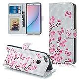 FNBK Handyhülle für Huawei P Smart Hülle,3D Ledertasche Flip Case Wallet Schutzhülle Kompatibel für Huawei P Smart/Huawei Enjoy 7S Tasche im Bookstyle Ständer Kartenfächer Lederhülle,Schmetterling