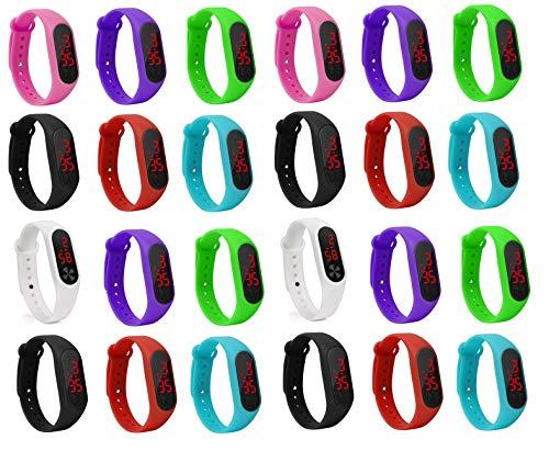 LEMONADE Silikon Unisex Slim Digital LED Pack von 25 Jungen und Mädchen Armband Band Uhr Kinder -