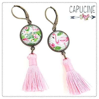 Boucles d'oreilles pendantes avec cabochons flamands roses - boucles d'oreilles pompons - Flamands Roses