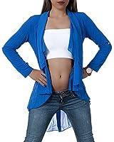 L018 Damen Longshirt Chiffon Cardigan Langarm Jacke Tunika Kleid Bluse Lang