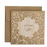 Ponatia,Hochzeitseinladungs-Karten, lasergeschnitten, mit geprägtem Blumenmuster, 25-teiliges Set gold