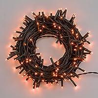 Catena 13,1 m, 180 miniled arancioni, led Ø 3 mm, interspazio 7 cm, cavo alimentazione 4 m, con memory controller, 8 giochi di luce, cavo verde scuro, 2,7 W, trasformatore 30V incluso, interno/esterno