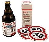 Witzige Bierflasche + Bierdeckel zum 50. Geburtstag