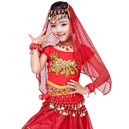 odern Girl Bauchtanz Rock multicolor Professionelle Performance Sequins Indien Handgefertigte Tüll Stickerei Kleidung Kostüm red m (Schule Themen-halloween-kostüme)