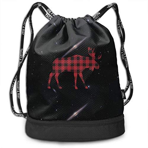 Plaid Herren Rucksack (KLing Buffalo Plaid Moose Drawstring Rucksack für Herren und Damen, 100% Polyester Original Gym Bag)