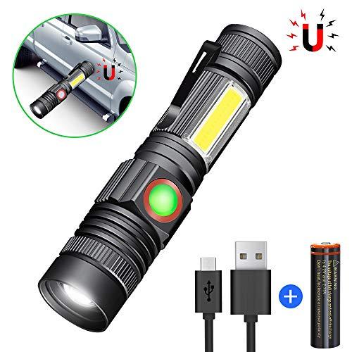 Karrong Taschenlampe LED Magnet USB Wiederaufladbar, Super Hell COB Arbeitsleuchte, 4 Modi Zoombar Taktische Wasserdicht Taschenlampen für Kinder Outdoor Camping Notfall (Inklusive 18650 Batterie) -