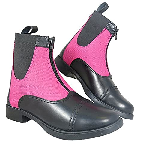 Ladies Girls Pony Horse Riding Two Tone Equi Leather Front Zip Jodhpur Boots All Colours & Sizes