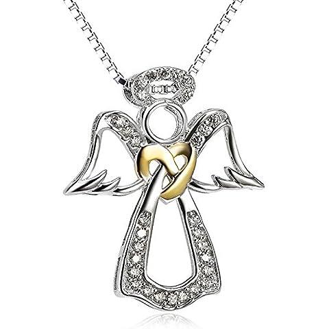Due tono Ala di Angelo, ciondolo in argento Sterling 925con ciondoli a cuore gioielli cz collana per le donne, 18
