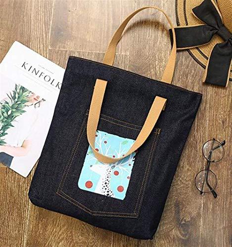 Canvas Denim Tote (CFHJN Home Leinentasche Weibliche Umhängetasche Student Wild Canvas Handtaschen Carry Denim Bag Umweltfreundliche Tote Bag)