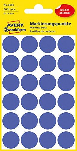 Avery Zweckform etiqueta 18mm Marcar punto azul, reutilizables, 96st