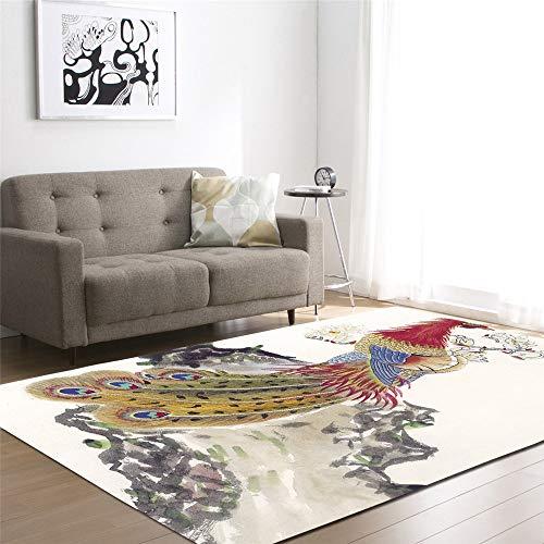 Mengjie Moderner Wohnzimmer Teppich Tinte Farbe Pfau 7MM Dicke Wohnzimmer Fußmatte Home Decor Outdoor Läufer 150 * 200CM (Pfau-farben-teppich)