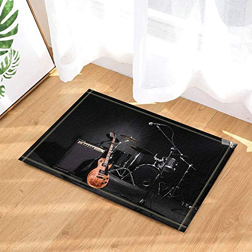 Kwboo Dekoration Für Musikinstrumente, Gitarre Im Dunkeln, Schlagzeug Und Sound - Rutschfeste Fußmatte, Badmatte, Küchenmatte, Plus Samt, 40X60Cm.