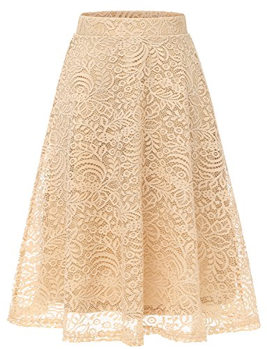 Gardenwed Women's Casual Floral Lace Party Skirt A-Line High Waist Flared Swing Pleated Midi Skirt