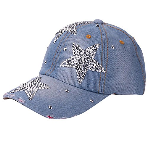 JUTOO Frauen Männer einstellbar Pentagram Strass Denim Baseball Mesh Cap Hut