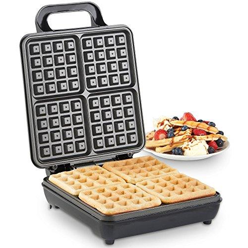 Vonshef macchina piastra per waffle quadrato 1100 w – design compatto in acciaio inox con rivestimento antiaderente e controllo automatico della temperatura