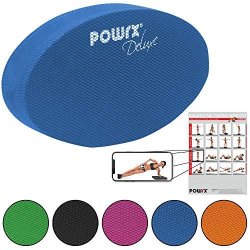 POWRX Balance Pad Deluxe Oval inkl. Workout I Ganzkörpertraining gelenkschonend für Gleichgewicht Stabilität Koordination I Hautfreundliches TPE 28 x 17 x 6 cm I Versch. Farben Blau