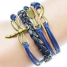 Jiayiqi Mujer Caliente Venta Fashion multicapa cuerda pulsera de cuero Cuff Bangle