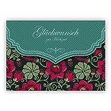Im 5er Set: Traum Retro Hochzeitskarte mit Vintage Seerosen Muster in grün: Glückwunsch zur Hochzeit