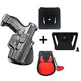 Fobus verdeckte Trage Retention Pistolenholster Rotation drehen Paddle Holster + Gürteladapter + 6cm breiter Gürteladapter für Polizei und Dienstgürtel für Walther P99