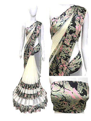 pujia mills Georgette-Satin Saree With Blouse Piece (pc-2_Multicolor_Free Size)