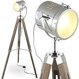 MOJO Stehleuchte Tischleuchte Tripod Stehlampe Tischlampe Dreifuss Lampe Industrial Design Sel-l30 (Braun, Stehleuchte)
